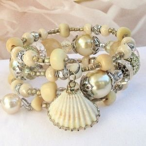 Pearl and Silver Shell Charm Stacking Bracelet